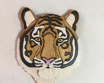 Tiger Intarsia Wall Carving