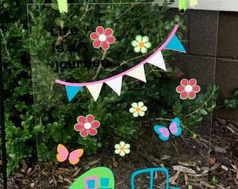 Plexiglass camping garden flag