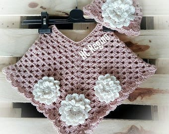 Sweet Crochet Baby Sets for your little pearl.. Poncho with beautiful flower hat... MT 62/68