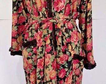 Vintage Victorias Secret Long Floral Pink Black Green Robe Medium Large