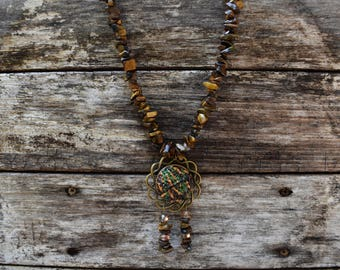 tiger eye stone necklace with handmade polymer clay pendant
