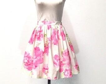 Floral Cotton Skirt / Full Skirt  / XL Skirt / Skirt with Pockets / 50's Style Skirt