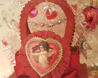 Vintage Shabby Chic Red Treat Bucket Ornaments Vintage Cherub Heart Ornaments Set of 2 Victorian Cherub Decorations Valentine Party Favors