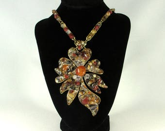 Orange, brown and crystal pendant / necklace made of bronze and gemstones - cornelian and crystal quartz