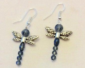 Earrings, Blue Beaded Earrings, Blue Beads with Dragonfly wings Earrings, Dangle & Drop Earrings, Handmade Earrings