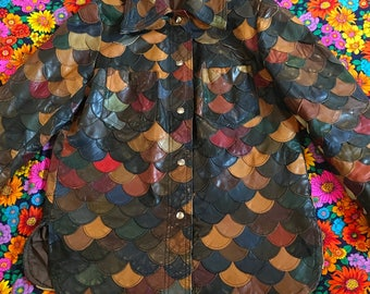 Vintage Leather Scales Scalloped Multi Color Patchwork Jacket Coat Snap Up With Big Collar