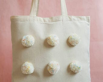Flecked Pom Pom Canvas Tote Shopper Bag
