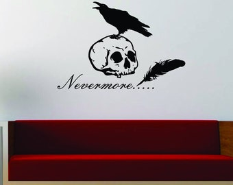 Nevermore Raven and Skull wall decal