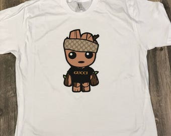 Kid's Baby Groot Gucci Shirt  / Toddler Groot Gucci shirt  / Baby Groot Gucci Onesie / Toddler Shirt / Children Gucci Tee / Gucci Onesie
