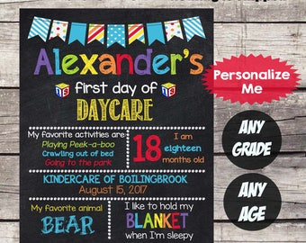First Day of DAYCARE Sign - First Day of School sign First Day of School Chalkboard Printable Personalized Back to School Sign ANY GRADE  #8