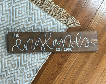 family name sign-family established sign-last name sign-rustic home decor-farmhouse-custom engagement gift-wood sign-handmade-housewarming