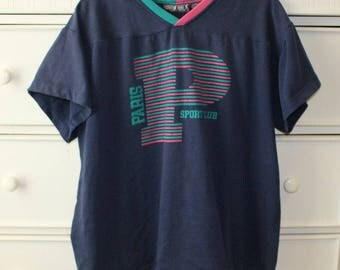 Vintage Paris Sport Club V-neck T-shirt
