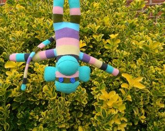 Pastel Striped Sock Monkey - Handmade Stuffed Animal