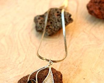 Onyx Stones necklace, Black onyx necklace pendant,  Unique Silver Onyx pendant,  Sterling silver art necklace,