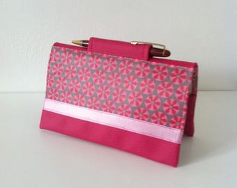 """Door-checkbook """"mosaic"""" cotton coated grey/pink and pink leatherette"""