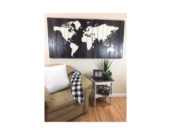 Rustic World Map | Reclaimed Wood Map | Pallet Wood Sign | Stained wood sign | World Map | Map Sign | Global Map | Large home sign | Sign