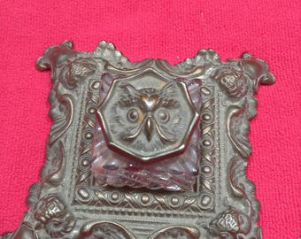 Antique  Art Nouveau Owl INKWELL Desk Accessory by Judd very RARE