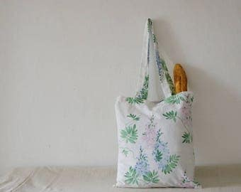 Floral Botanical Eco Tote Bag, Repurposed from Vintage Pillowcase