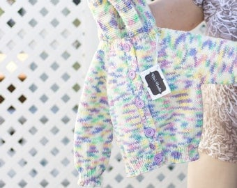 Baby Sweater, Hand Knitted, Size 2-3 Yrs, Unicorn Theme, Hooded, Long Sleeves, Button Up, Baby Girl, Machine Wash, Gift, Uniq
