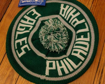 Rare Vintage Philadelphia Eagles knit tam hat with brim and pom pom