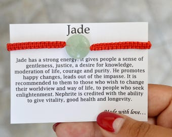 JADE Bracelet Protection bracelet Personalize bracelet Red string bracelet Daughter bracelet Jewelry protection little girl bracelet