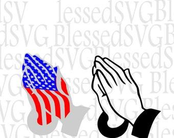 Praying Hand svg,Patriotic svg, American flag,Svg, Silhouette cut files,Cricut, Praying,cutting files,Red white blue. vinyl shirt,home decor