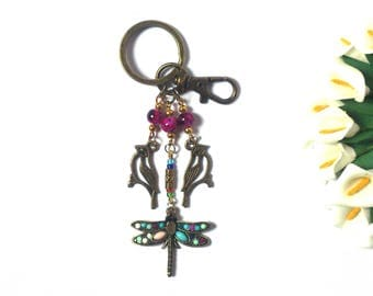 Keychain Dragonfly and Bird - Keychain Animals - Pendant Insect - Purple Beads - Bronze Pendants - Gift for Her - Gift for girls