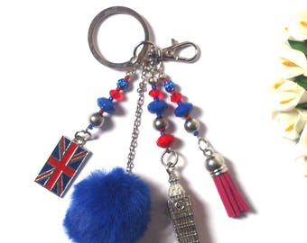Keychain England - Big Ben London Silver Pendant - England Flag - Pom Pom - Red Tassel - Fashion Keychain -Unique Souvenier