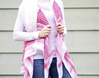 Keffiyeh Cardigan Shemagh Scarf Arab Middle Eastern Fashion Shawl Wrap Hatta