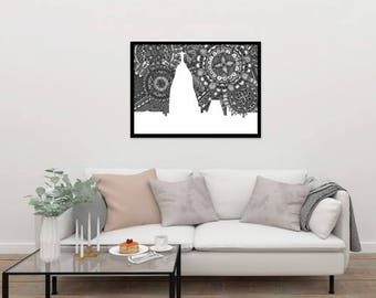 Rio de Janeiro, Zentangle, Doodle, Brazil, Art, Skyline, Digital Illustration, Home Decore, Black and White, Print, Poster, Gift, Wall Art