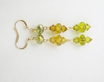 Swarovski Elements Earrings, Murano Glass Earrings, Green Yellow Swarovski Elements, Venetian Glass Earrings, Gold Pleated Earrings