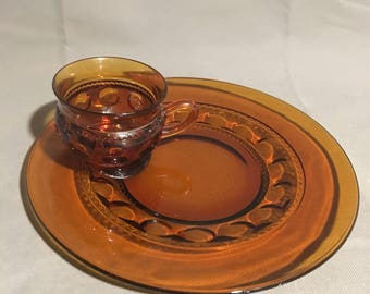 Vintage Amber Indiana Glass Luncheon Set Plate and Mug Thumbprint Design