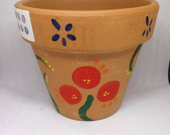 Flower Plant Pot | Planter Pot| Ceramic Pot| Handpainted Gift