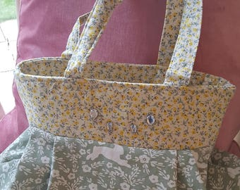 Pretty Lemon and Mint floral trim print bag, handbag, shopping bag
