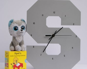 "Wooden Silver Letter ""S"" Clock 
