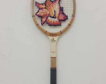 Hand embroidered vintage racket