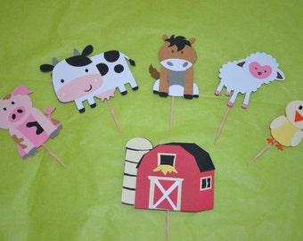 Farm Themed Set Cupcake Toppers