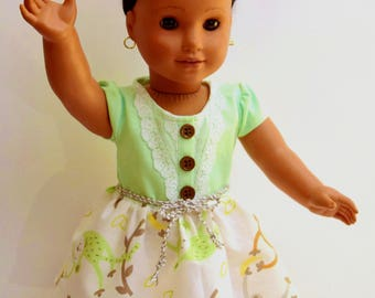 American Girl Doll clothes. Adorable handmade mint green & monkey motif dress adorned with lace, buttons and a braided belt.  So cute!