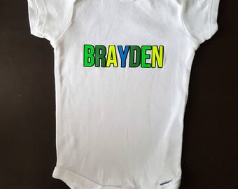 Custom Baby Name Onesie, Personalized Name Onesie, Highlighter Neon Color Onesie, Gift for new baby, Gift for newborn, Gift for baby boy