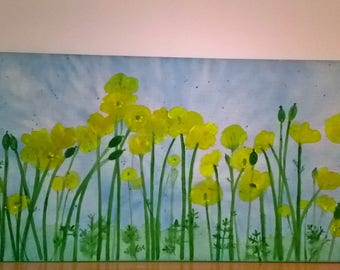 large yellow poppy painting