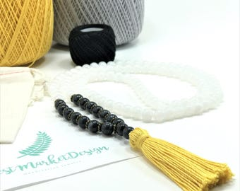 Beaded Tassel Necklace, Yellow Tassel Necklace, White Bead Necklace, Black Bead Necklace, Beaded Necklace