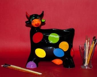 "Medium Ceramic Cow ""Colors"" Statue Turov Art Pottery Collectible"