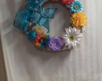 All Season Floral Door Wreath, very colorful,  15 x 15