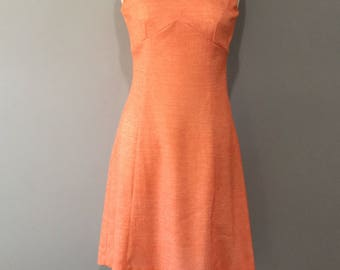 1970s Orange White Speck Princess Shift Dress, Empire Style, Classic Fit, Easy Wear Polyester, Mod/Scooter Dress, Sleeveless Day Dress M
