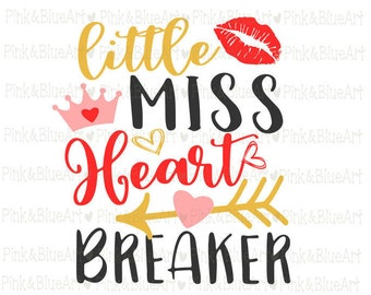 Little Miss Heart Breaker SVG Clipart Cut Files Silhouette Cameo Svg for Cricut and Vinyl File cutting Digital cuts file DXF Png Pdf Eps