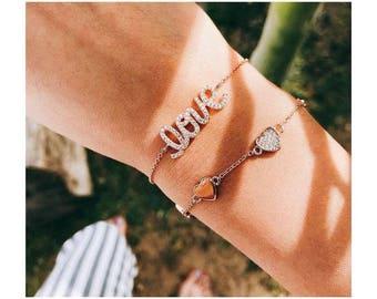 Rose Gold Love Bracelet Tiny Heart Bracelet Dainty Bracelet Love Charm Bracelet Everyday Bracelet Rose Gold Love Gifts Friendship Bracelet