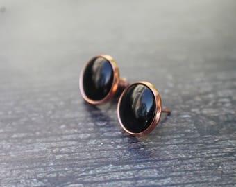 Classy Rose Gold Black Cabochon Earrings, 12mm