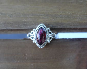 Marquise Garnet Sterling Silver Gemstone Ring- Size 6 7- January Birthstone