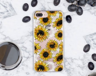 Sunflower iPhone 6s Case Clear iPhone 7 Case Floral iPhone 7 Plus Case 6 iPhone Case Clear iPhone SE Case Flowers iPhone 6s Case phone cn019