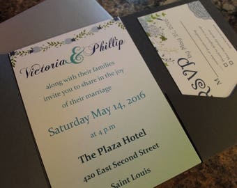 75pc custom PRINTED wedding invitation and response cards blue green floral